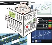 Stock market newspaper cartoon Royalty Free Stock Image