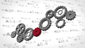 Stock market numbers behind cogs stock illustration