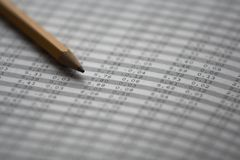 Stock market numbers with pencil Stock Photography