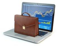 Stock market online business concept. Briefcase on laptop keyboa stock illustration