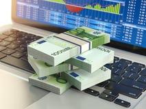 Stock market online business concept. Pack of dollar on laptop k vector illustration
