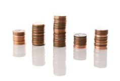 Stock Market Pennies Isolated Royalty Free Stock Photography