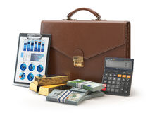 Stock market portfolio concept. Briefcase with calculator, gold. And money isolated on white background. 3d illustration Royalty Free Stock Photo