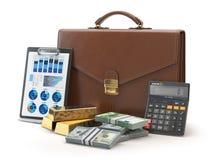 Stock market portfolio concept. Briefcase with calculator, gold Royalty Free Stock Photo