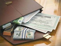 Stock market portfolio concept. Briefcase with capital stocks, b Royalty Free Stock Photos