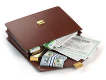 Stock market portfolio concept. Briefcase with capital stocks Stock Images