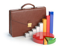 Stock market portfolio concept. Briefcase and graph isolated  Royalty Free Stock Photography