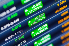 Stock market price display Royalty Free Stock Photos