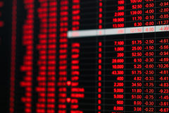 Stock market price ticker board in bear market day Stock Photo