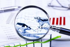 Stock market prices and bull and bear stock photos