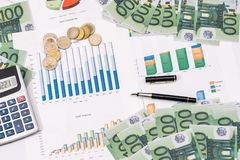 Stock market prices chart with euro bills Royalty Free Stock Images
