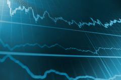 Stock market quotes on display. Share price quotes. Bitcoin price watch. royalty free stock photo