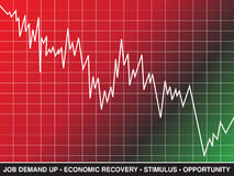 Stock Market Recovery. A line graph and text represent stock market and economic recovery Stock Photos