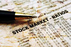 Stock market report. CLose up of Stock market report Royalty Free Stock Images