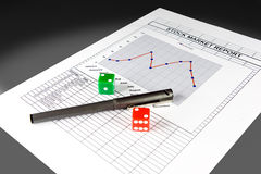 Stock market report and set of dice Stock Image