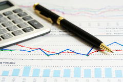 Financial graphs analysis and accounting Royalty Free Stock Photography