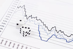 Stock Market Risk. With Dice And Graph Royalty Free Stock Photo