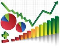Stock Market Set - positive. Group of financial icons for the rise of the financial market Stock Photography