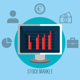 Stock market with statistics. Graphic design, vector illustration eps10 Stock Images