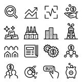 Stock market & Stock Exchange icon set in thin line style Royalty Free Stock Images