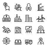 Stock market & Stock Exchange icon in thin line style Royalty Free Stock Photography