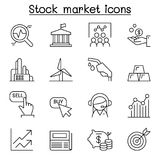 Stock market , Stock Exchange, Stock money icon set in thin line. Style vector illustration graphic design Royalty Free Stock Images