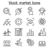 Stock market, Stock money, Stock exchange icon set in thin line. Style vector illustration graphic design Stock Photography