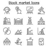 Stock market, Stock money, Stock exchange icon set in thin line. Style vector illustration graphic design Royalty Free Stock Image