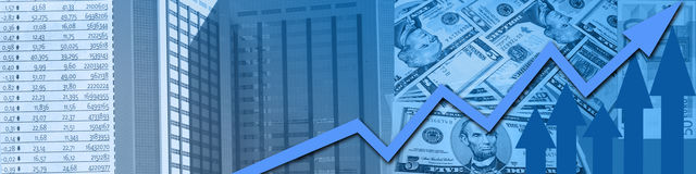 Stock market success. Stock market design with metaphors like money, a business building, upgoing arrows and stock information Stock Photography