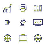 Stock and market symbol line icon on white Stock Image