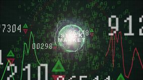 Stock Market text on Stock market graph with bar chart price display, trading screen, chart bars. Finance concept Stock Market trade graph on the screen vector illustration