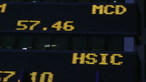 Stock market ticker. Stock prices flash by on a stock market ticker in New York City stock video footage