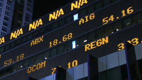 Stock market ticker. Stock prices flash by on a stock market ticker in New York City stock footage