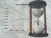 Stock market and time. Stock market summary, time and dollars scene Stock Images