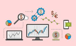 Stock market trade concept. Financial forex trading theme. Moneymaking investing business. Vector illustration Royalty Free Stock Images