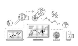Stock market trade concept. Financial forex trading theme. Moneymaking investing business. Vector illustration Royalty Free Stock Photography