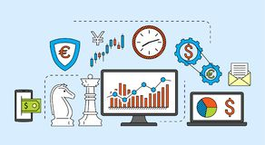 Stock market trade concept. Financial forex trading theme. Moneymaking investing business. Vector illustration Stock Photography