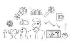 Stock market trade concept. Financial forex trading theme. Moneymaking investing business. Vector illustration Stock Photos