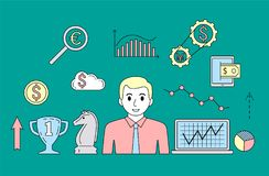 Stock market trade concept. Financial forex trading theme. Moneymaking investing business. Vector illustration Stock Image