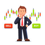 Stock market trader analyzing candlestick graph royalty free illustration