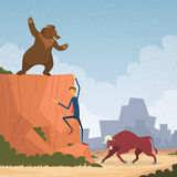 Stock Market Trader Concept Bull and Bear Fight. Trend Business Man Climb Rock Flat Vector Cartoon Illustration Stock Images