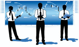 Stock market traders. Stock market team leader Stock Images