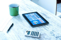 Stock market trading app on a Tablet PC Stock Photos