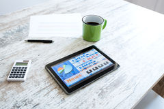 Stock market trading app on a Tablet PC Stock Image