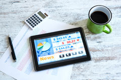 Stock market trading app on a Tablet PC Royalty Free Stock Photo