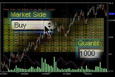 Stock market trading screens. Collage Royalty Free Stock Photography