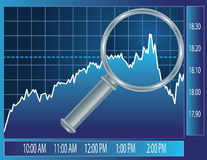 Stock market trend under magnifier glass. Finance concept illustration Stock Image