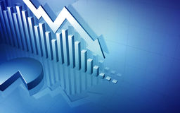 Stock Market Up Arrow with Pie Chart. 3D background image of a business stock market chart with a down arrow and pie chart Stock Photo