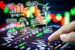 Stock market watching with digital tablet Royalty Free Stock Photography