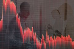 Stock markets crash, stock down. Graphs against a city people abstract background.  royalty free illustration